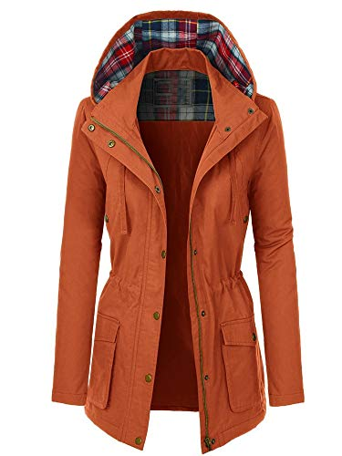 OLLIE ARNES Anorak Zip Up Jacket, Lightweight Safari Military Parka Junior to Plus Size 552_Rust S