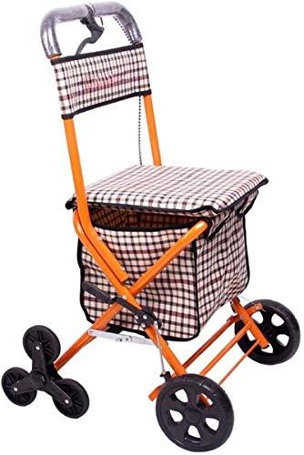 Caminantes de caminatas y caminatas ligeros Walker Trolley anciano Carrito de compras antiguo Carrito de compras Pobling Can Viajes Carrito de compras con silla de ruedas Caminante de pie (Color: Amar