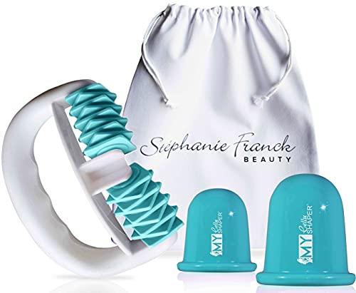 Stephanie Franck Beauty Kit1 AntiCellulite - Body Roller, Ventouses Minceur S+L et Pochette en coton (turquoise)