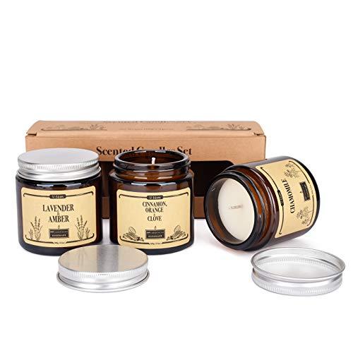 Duftkerzen, Aromatherapie, natürliches Sojawachs, reines ätherisches Öl zur Entspannung, Stressabbau, Entspannung, Weihnachten, Valentinstag