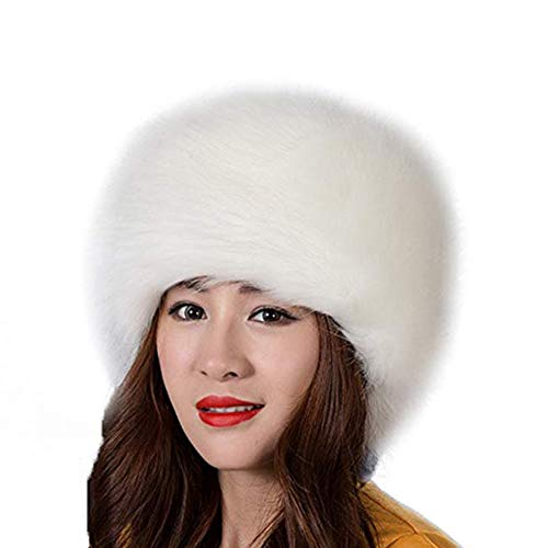 Kiner Kunstpelzhut für Damen, für Winter, Pelzmütze, für Damen, Stil: Russisch (weiß)