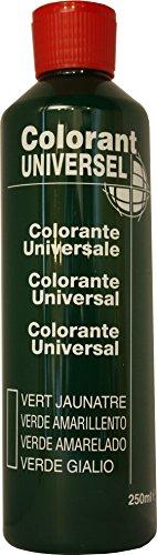 Vert Jaunatre Colorant Universel Concentré 250 ml pour toutes peintures décoratives et bâtiment. Grande compatibilité aussi bien en milieux solvant et aqueux. Convient également à la coloration des enduits , plâtres , et résines. Grande facililté de dosage grâce à son bouchon compte goutte