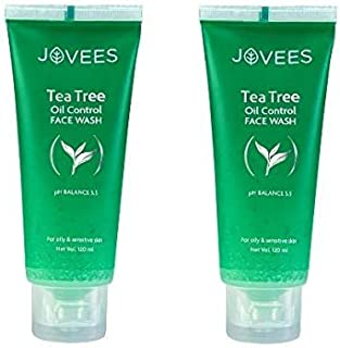 Jovees Tea Tree Oil Control Face Wash, 120 g -Pack of 2