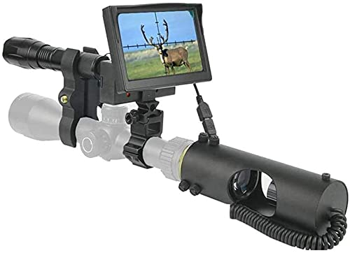ZXYSMM Alcance monocular de visión nocturna de caza, infrarrojo de 850NM, 200 metros, dispositivo de alcance de visión clara con cámara y pantalla de 4.3 '' para visor de rifle/Color de la fot