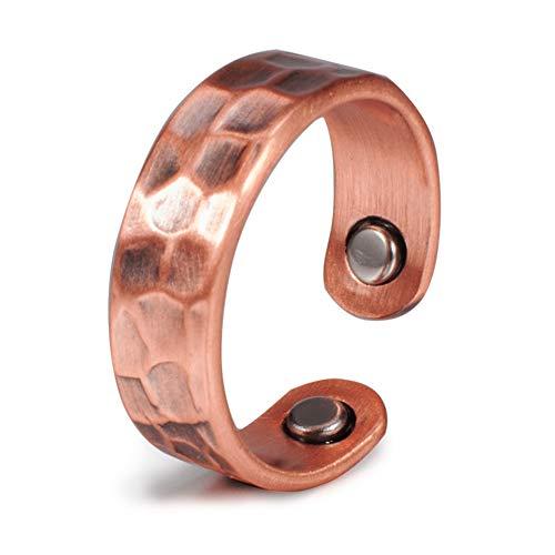 Anillos de cobre puro para mujeres y hombres de 6 mm de salud, energía vintage, terapia magnética, puño abierto, ajustable