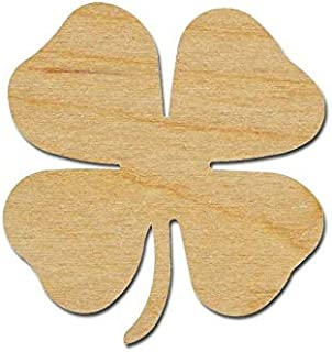 4 Leaf Clover Shape Wooden Shamrock Unfinished Wood Cutouts Variety of Sizes (8