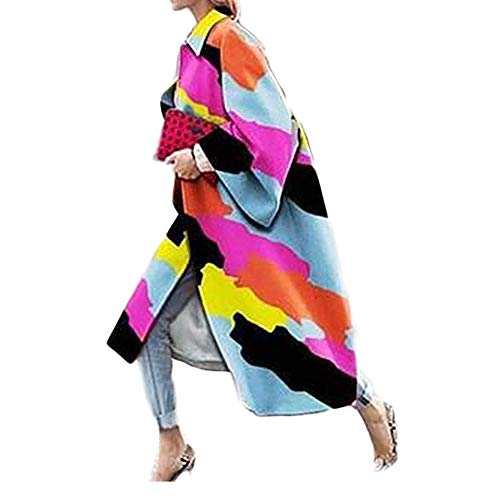 SalmophC Damen Lange Strickjacken mit Taschen, Mode Bunte geometrische Abstraktion Druck ausgestellte Ärmel Trenchcoat Open Front Outwear Jacke
