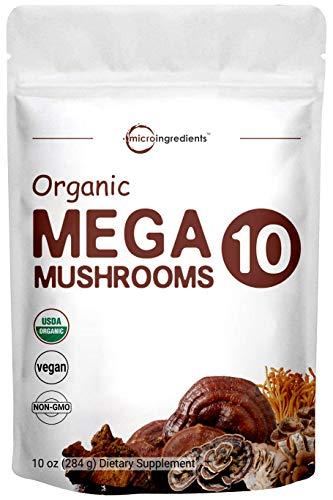 Sustainably US Grown, USDA Organic Mega 10 Mushroom Complex Powder for Immune System Booster, 10 Ounce (284 Grams), Chaga, Lions Mane, Turkey Tail, Cordyceps, Reishi Mushroom & More, Vegan