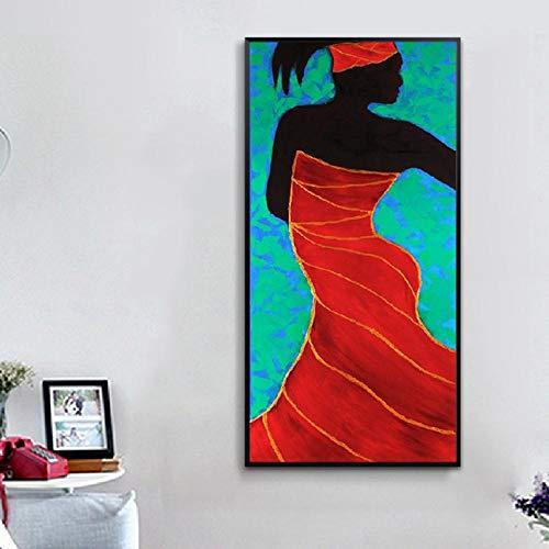 WANGHH Afrikanische Frauen Ethnisches Wunder Frau Kunst Leinwand Drucke Yoga Kunst Frau Porträt Schwarze Frau Gemälde Bild Wohnzimmer Wohnkultur-40 * 80cm-ungerahmt