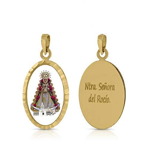 ROSA DI MANUEL Medalla Virgen comunión en Oro 18 k,para Mujer, niña Unisex. Medida 12 x 18 milímetros. Elija la suya.Pilar, Rocio, etc, (V. del Rocio)