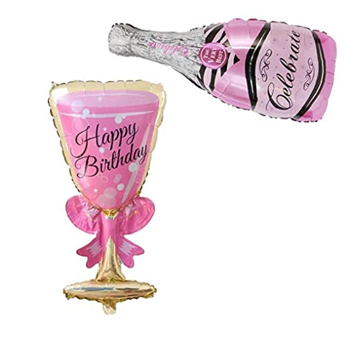Forma 2pcs Champagne Botella De Cristal Vino En Forma De Cáliz De Aluminio Decoración Fiesta De Cumpleaños Globo De Cine