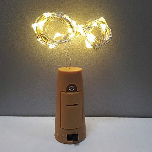 Lichtketting, 2 m, LED, koperdraad, kurker, slinger, nachtlampje, glas, voor Nieuwjaar, Kerstmis, Valentijnsdag Warm White One Mode