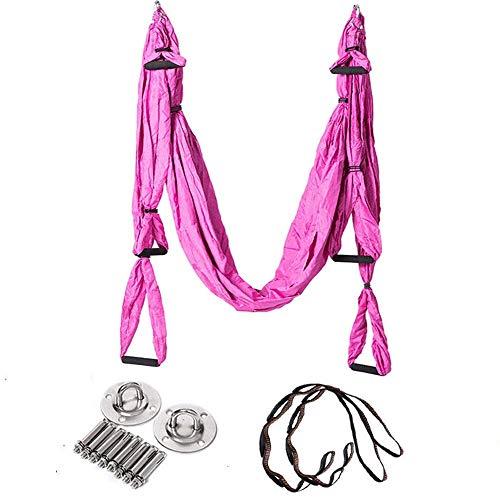 Hamaca para Acampar, Columpio de Yoga Hamaca de Yoga aérea Hamaca de Yoga Invertida Invertida con cinturón Colgante Conjunto Completo Hamaca de Yoga (Color: Rosa, Tamaño: 250x15