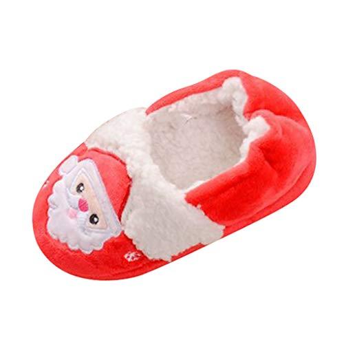 YXIU Kleinkind Jungen Mädchen Winter Warme Weiche Süße Plüsch Cartoon Weihnachten Hausschuhe mit Antirutsche Gummisohle