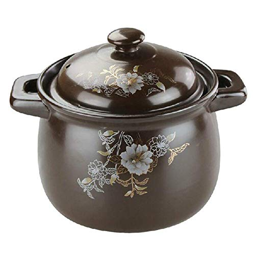 GCP Vintage Non-Stick Clay Pot, High Capacity Pot, Heat Resistant Ceramic Saucepan with Lid, Deep Frying Pan for Hot and Cold Food Brown 5.8 quart (5.5 L)
