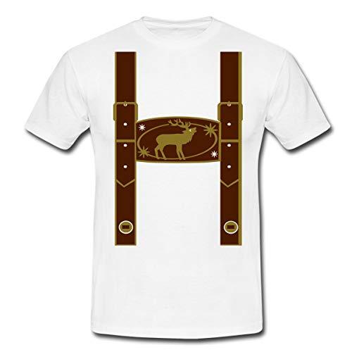 Oktoberfest Falsche Lederhose Männer T-Shirt, XXL, Weiß