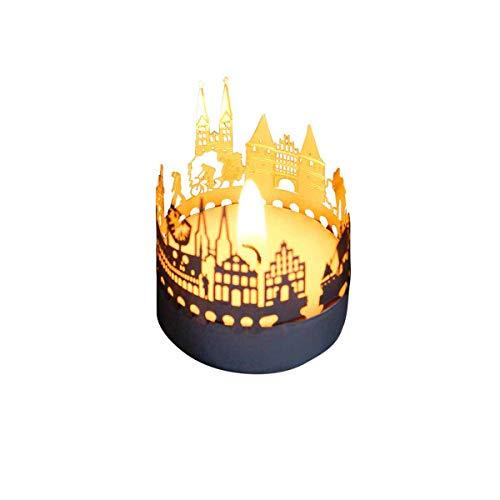 13gramm Lübeck-Skyline Windlicht Schattenspiel Souvenir, 3D Edelstahl Aufsatz für Kerze inkl. Karte
