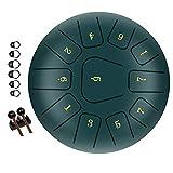 TsunNee tambor de lengua de acero de 12 pulgadas, tambor de mano de 11 tonos, instrumento de percusión de mano con mazos de tambor bolsa de transporte para meditación yoga, música y enseñanza