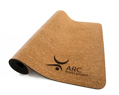 """CORK YOGA NON-SLIP MAT + FREE YOGA STRAP (72"""" x 24"""" x 4mm thick)- NATURAL RUBBER, Eco Friendly, Non-Toxic, Latex Free, Antimicrobial, 100% Biodegradable. YOGA INSTRUCTOR'S CHOICE"""