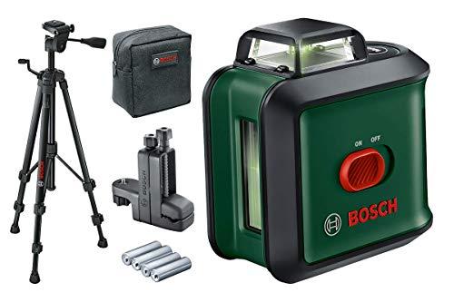 Bosch Kreuzlinienlaser UniversalLevel 360 mit Stativ und Klemme (grüner Laser, Arbeitsbereich: bis zu 24 m, Genauigkeit: ± 0,4 mm/m, selbstnivellierend: bis ± 4°, 4x AA-Batterien, im Karton)
