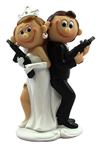 Preis am Stiel 1 x Dekofigur- Mr.&Mrs. Comic Brautpaar ''Pistole'' | Hochzeit