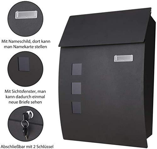 Briefkästen Postkasten, Wandbriefkästen mit Zeitungsfach, 3 Sichtfenstern und 2 Schlüsseln, Edelstahl pulverbeschichtet