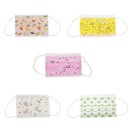 MASK666 50 mascarillas desechable infantil con 5 dibujos diferentes de niño de 3 capas con filtración bacteriana superior a...