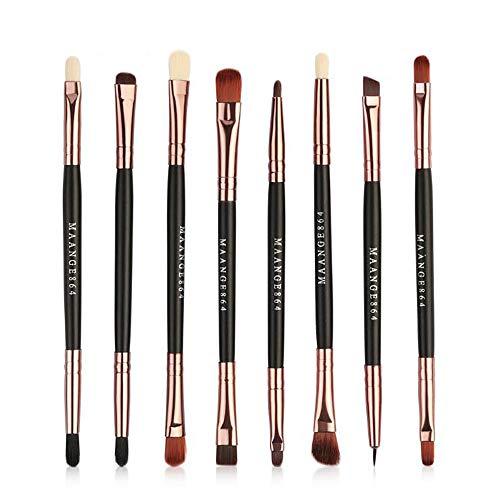 Ensemble de brosse de maquillage, 8pcs Premium Eye brosses cosmétiques pour eyeliner Eye Shadow sourcil, fibre synthétique poils cosmétiques mélange brosse outil