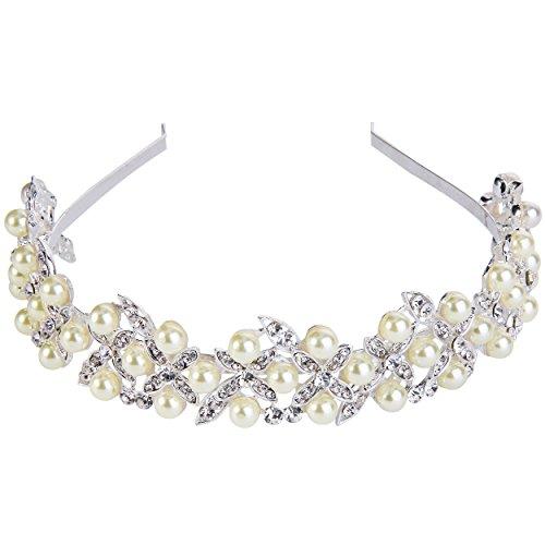 Clearine Damen Kristall Künstliche Perlen Boho Stil Hochzeit Blatt Romantik Haarschmuck Diademe Ivory-Farbe
