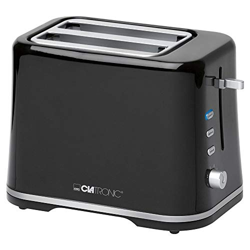 Clatronic TA 3554 Kompakter 2-Scheiben Toaster, Brötchenaufsatz (abnehmbar), Aufwärm, Auftau Schnellstoppfunktion, stufenlos einstellbarer Bräunungsgrad, Krümelschublade, schwarz
