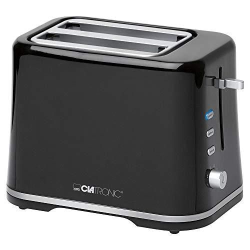 Clatronic TA 3554 Tostadora de pan pequeña con regulador de nivel de tostado, 3 funciones, tostar, calentar y descongelar, 870 W, Plástico, 2 Ranuras, Negro y plata