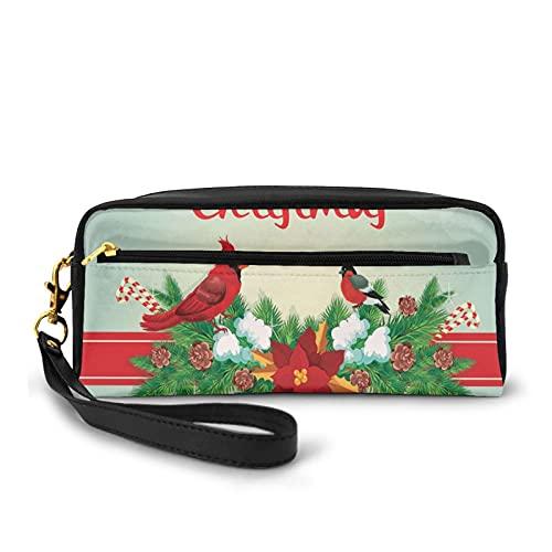 Con bolsa de lápices con cremallera, Navidad festiva con bolas colgantes Garland Bullfinch Bird On Bokeh Backdrop, estuche pequeño para maquillaje