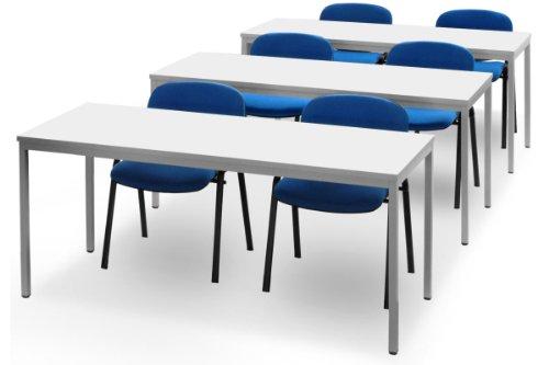 JOKER Seminar-Set, Konferenztische, 6 Plätze LICHTGRAU BLAU/SCHWARZ