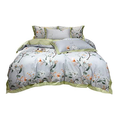 DYXYH Bettbezug Set Stickerei Land Stil Gedruckt Bettwäsche Set Einzelne Doppelkönigin Kingsize-Bett Bettwäsche Blatt Steppdecken (Size : 1.5M)