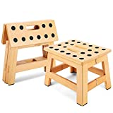 Jiodux Folding Wooden Stool - 8.8' Height - Folding Step Stool for Adults & Kids' Step Stools, Small Foldable Step Stool Use in Kitchen Garden Camping - Holds up to 300 Lbs