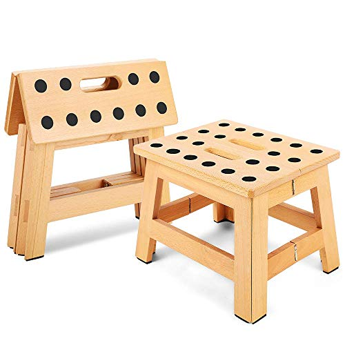 "Jiodux Folding Wooden Stool - 8.8"" Height - Folding Step Stool for Adults & Kids' Step Stools, Small Foldable Step Stool Use in Kitchen Garden Camping - Holds up to 300 Lbs"