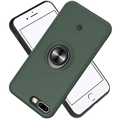 FAWUMAN Hülle für iPhone 7 Plus/iPhone 8 Plus mit Standfunktion, Dekomprimierungsknopf, Rotationsgyroskop, PC + TPU Handyhülle Stossfest Case -Dunkelgrün
