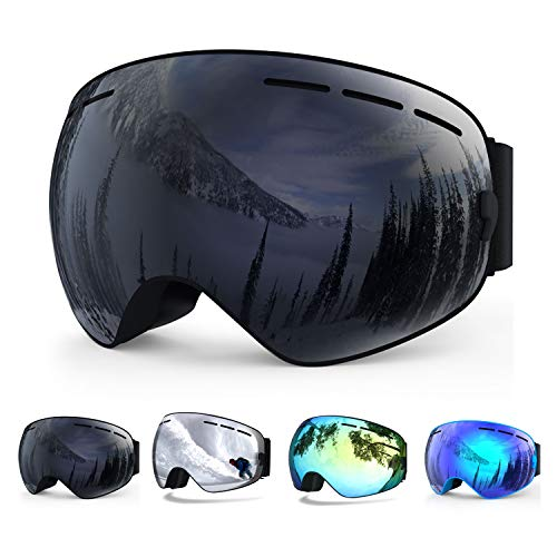 Skibrille UV-Schutz mit abnehmbarer Linse Anti-Fog große sphärische Schneebrille, Schwarz