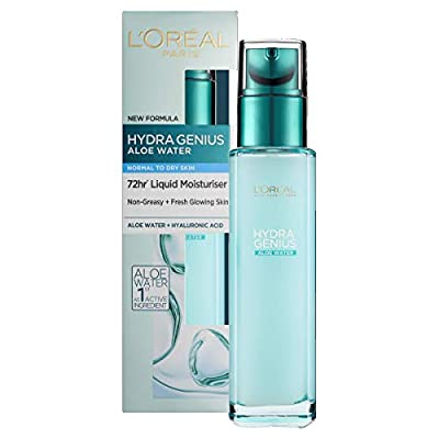 L'Oreal Paris Hydra Genius Hyaluronic Acid + Aloe Liquid Moisturiser for Normal to Dry Skin, 70ml