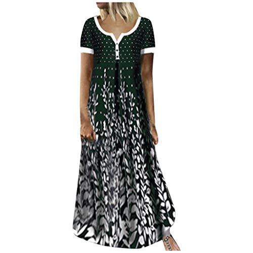 URIBAKY Mode Damen T Shirt Kleider Lang Übergröße,Farbblock mit Kontrastdruck Bedrucktes Kleider,mit V-Ausschnitt Elegant Maxikleider Casual Sommerkleider Abendkleid Große Größen