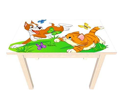 Set Möbelaufkleber für Ikea SUNDVIK Kindertisch Kinderzimmer Tiere Katze Hund Schmetterlinge Kat2 bunt SU3 Aufkleber Möbelfolie sticker (Ohne Möbel) Folie 25V2696