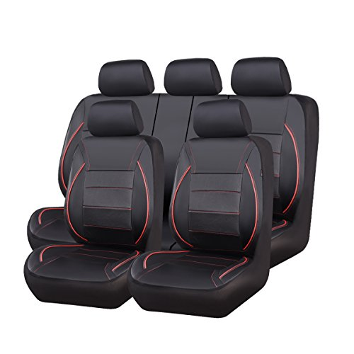 red and black seat covers leather - 7