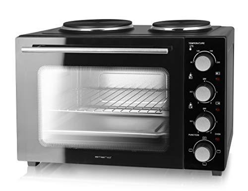Emerio Multi Backofen mit 2 Kochplatten, 3200 Watt, Pizzaofen, Mini Camping Küche, gleichzeitig kochen und backen, Ober-/Unterhitze, Thermostat, 90°-230°C, Innenbeleuchtung, BPA frei, MO-125236