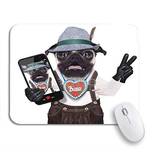 MIGAGA Gaming-Mauspad,Dumme verrückte Mops Hund als bayerische Lebkuchen Verkleidet,rutschfest Verschleißfestes Und Haltbares Gummi,Mousepad Für Bürocomputer,9.5