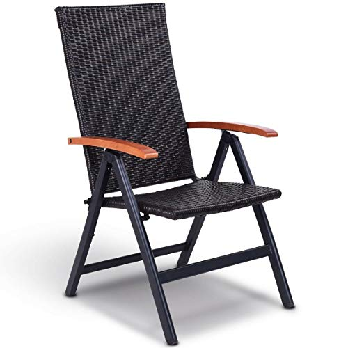 Heize best price Aluminum Foldable Back Rattan Recliner Folding Outdoor Armchair Adjustable Outdoor Beach Chair Camping Furniture Portable Seat Chaise Lounge Upholstery Lazy Sport Picnic(U.S. Stock)