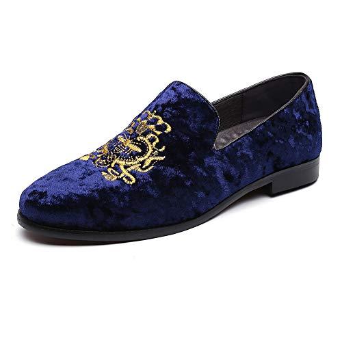 FLQL Men's Leather Handmade Tassel Loafer Slip On Dress Shoes Size 9 Blue