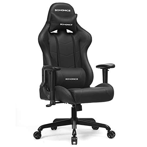 SONGMICS Gamingstuhl 150 kg, Bürostuhl, Schreibtischstuhl mit Lendenkissen, Stahlgestell, hoher Rückenlehne und breiter Sitzfläche, höhenverstellbar, ergonomisch, Kunstleder, schwarz RCG42BK