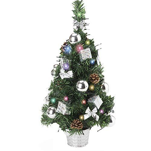 Amasava Albero di Natale Mini Abete Argento con 60 Decorazioni LED e Argento Ornamenti per Alberi di Natale Regalo Cono di Abete Bianco 55cm Decorazioni per la casa di Natale Argento