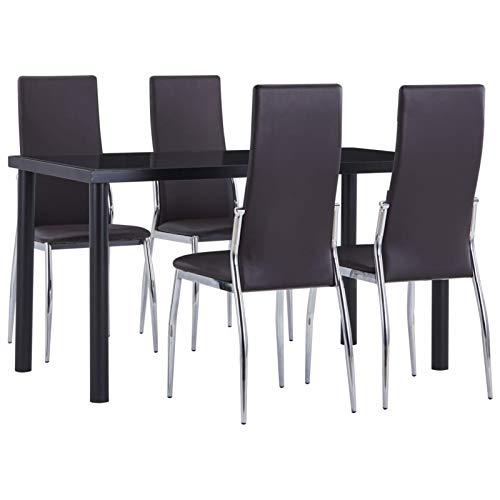 pedkit Juego de Comedor Conjunto de Salón Comedor 5 Piezas Conjunto de 1 Mesa y 4 Sillas para el Hogar Oficina Cocina Balcón y Jardín Cuero Sintético Negro