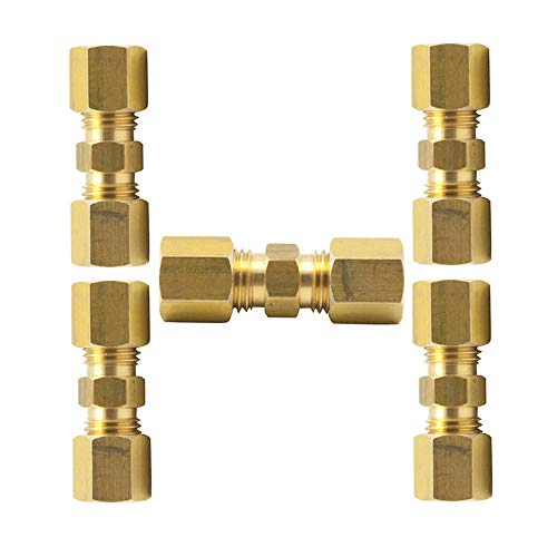 Vis Brass Compression Tube Fitting, Union, 5/16